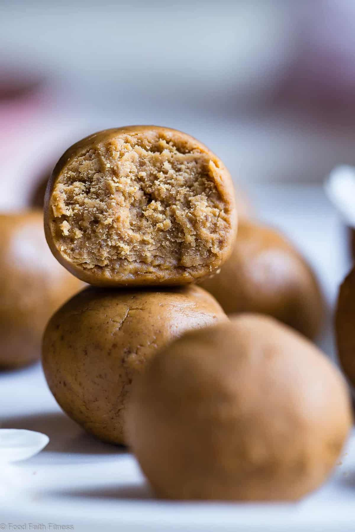 Peanut Butter Protein Cookie Dough Bites - This easy recipe is only 4 ingredients and take 10 mins! Gluten free, dairy free and PACKED with protein too! A healthy snack for kids or adults! | #Foodfaithfitness | #Glutenfree #Dairyfree #PeanutButter #Healthy #CookieDough
