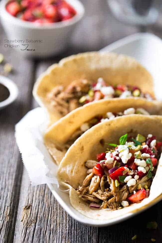 Chicken Tacos with Goat Cheese & Strawberry Salsa - An easy, weeknight dinner that is super healthy , unique and sure to please!   Foodfaithfitness.com   @FoodFaithFit