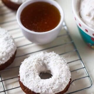 Gluten Free Carrot Cake Baked Donuts with Coconut Cream Frosting {Paleo}