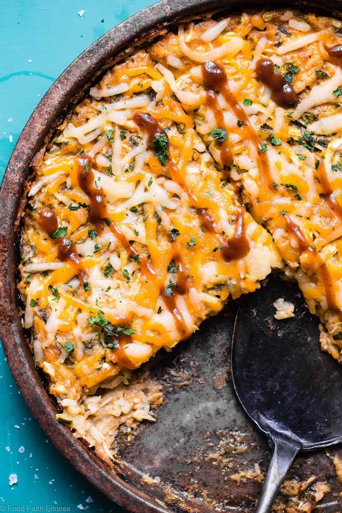 Keto BBQ Chicken Zucchini Noodle Casserole - This 6 ingredient casserole is an ULTRA delicious weeknight dinner that is under 300 calories, protein packed and will please even picky eaters! Gluten free & low carb too! | #Foodfaithfitness | #Keto #Lowcarb #Glutenfree #Sugarfree #Healthy