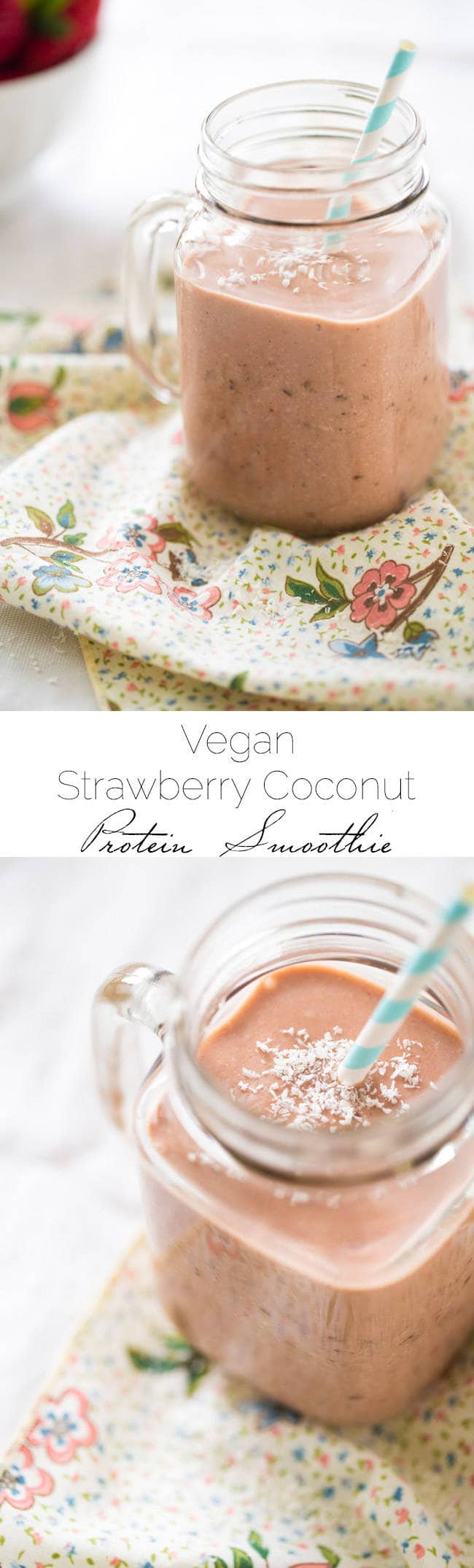 Vegan Strawberry Coconut Milk Smoothie - Made in 5 mins, only 5 ingredients and SO healthy and protein packed! | Foodfaithfitness.com | @FoodFaithFit