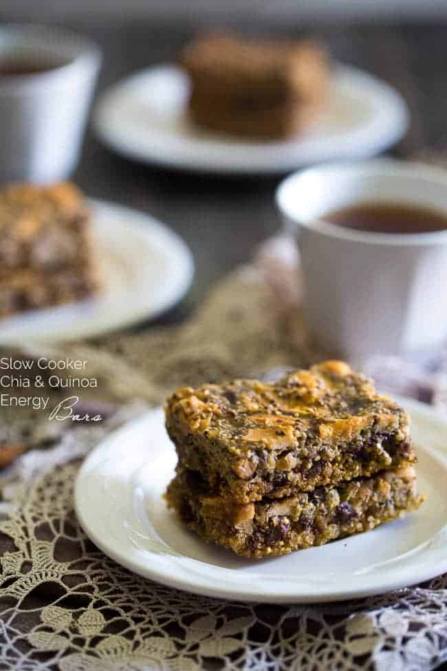 Slow Cooker Quinoa Energy Bar Recipe - YES! You CAN make healthy, gluten free energy bars in your slow cooker! Perfect for a portable breakfast or snack! | Foodfaithfitness.com | @FoodFaithFit