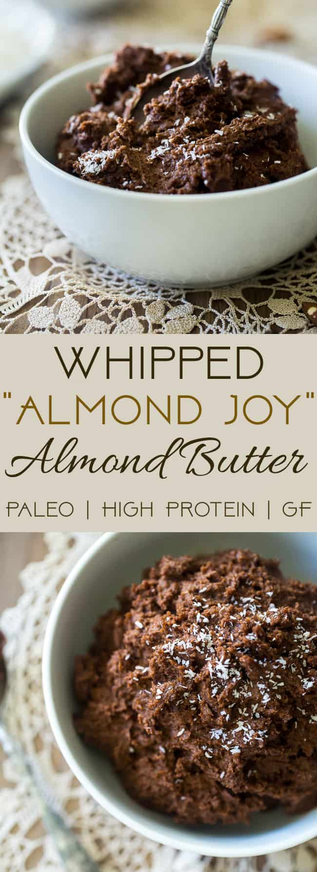 Chocolate Coconut Whipped Homemade Almond Butter -  loaded with chocolate, coconut and protein powder, and then whipped to airy, light perfection! Easy, Paleo-friendly and SO addicting! | Foodfaithfitness.com | @FoodFaithFit | Healthy homemade almond butter. almond butter recipe. paleo homemade almond butter. best homemade almond butter.