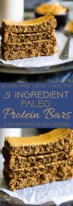Paleo Protein Bar Recipe - 5 ingredients, one bowl and 20 minutes is all you need to make these soft and chewy bars! The a healthy, portable snack!   Foodfaithfitness.com   @FoodFaithFit