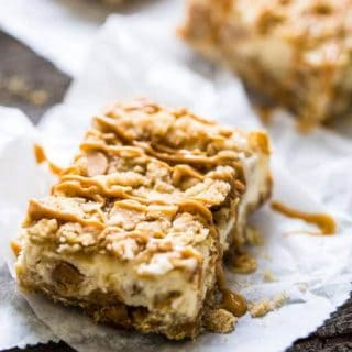 Healthier Peanut Butter Cheesecake Bars with Oatmeal Crumble {Whole Wheat + Super Simple}