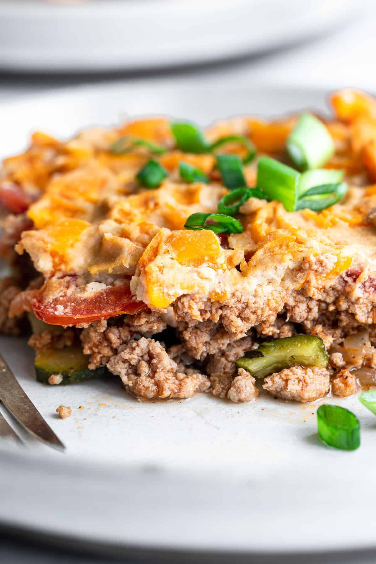 close of dairy free paleo chicken casserole on a plate