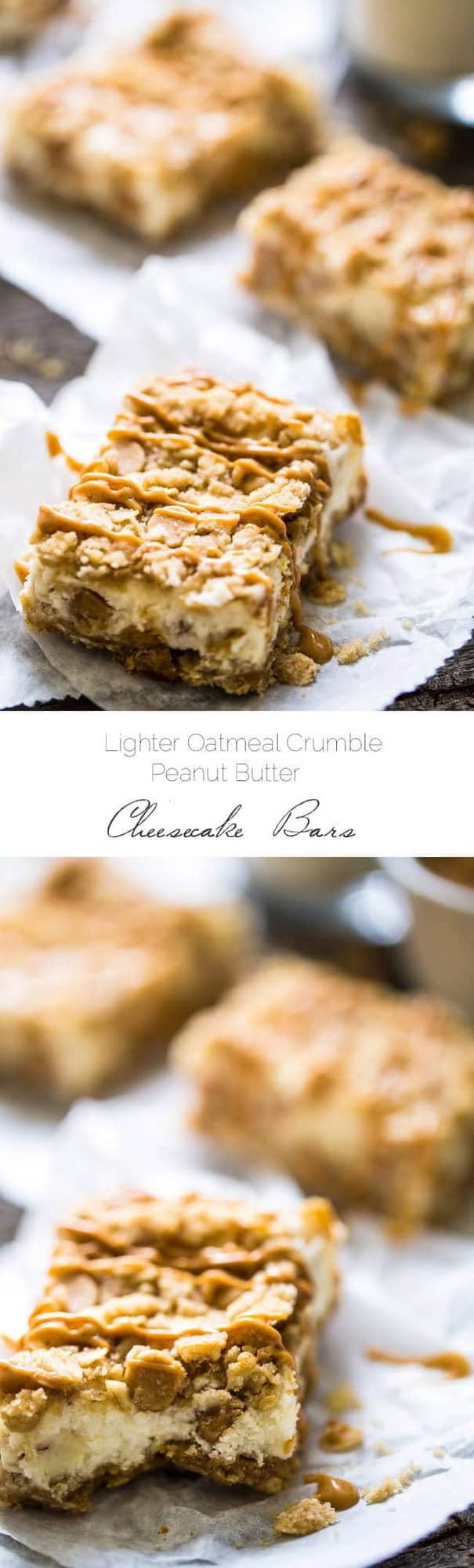 Healthier Oatmeal Crumble Peanut Butter Cheesecake Bars - SO easy to make and always a hit at gatherings! So creamy that you would never know they're lightened up with Greek yogurt and whole wheat flour! | Foodfaithfitness.com | @FoodFaithFit