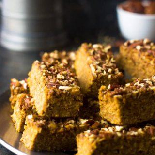 Pumpkin Protein Bars {Gluten Free, Low fat + Super Simple}