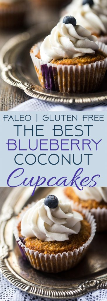 The BEST Gluten Free Cupcake Recipe with Blueberries – These cupcakes mixed with fresh blueberries and topped with coconut cream are a healthier, Paleo-friendly dessert that is perfect for Summer! | Foodfaithfitness.com | @FoodFaithFit | homemade gluten free cupcakes. moist gluten free cupcakes. gluten free cupcakes from scratch. gluten free cupcakes for kids. gluten free cupcakes for baby shower. gluten free coconut cupcakes. paleo cupcakes. simple gluten free cupcakes.