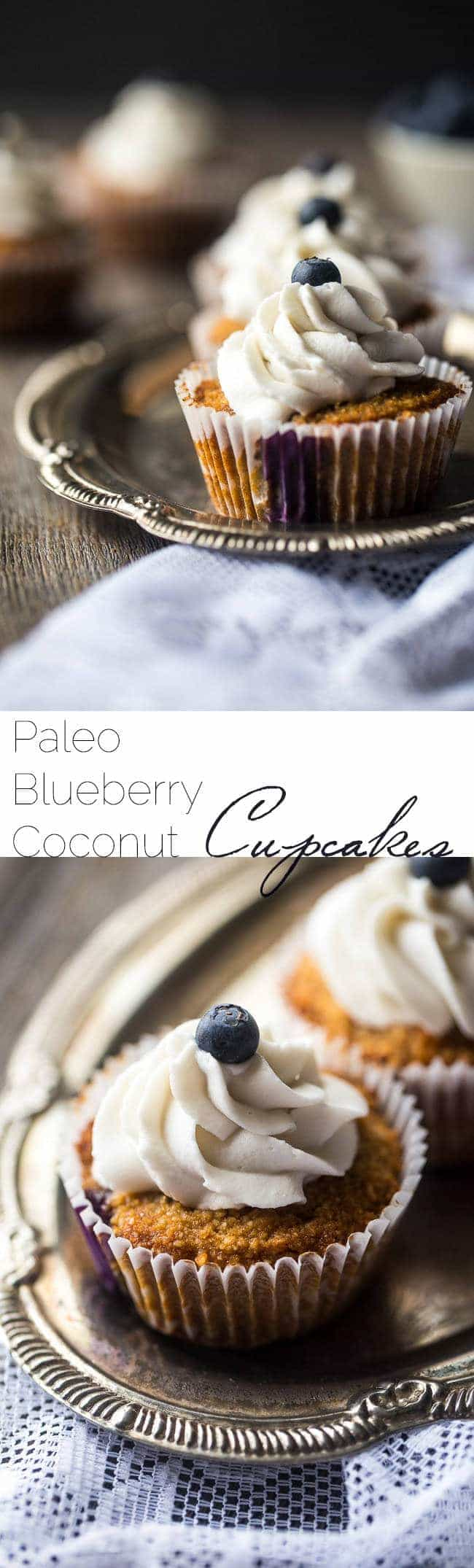 Blueberry Gluten Free Cupcakes with Coconut Cream – These cupcakes mixed with fresh blueberries and topped with coconut cream are a healthier, Paleo-friendly dessert that is perfect for Summer! | Foodfaithfitness.com | @FoodFaithFit