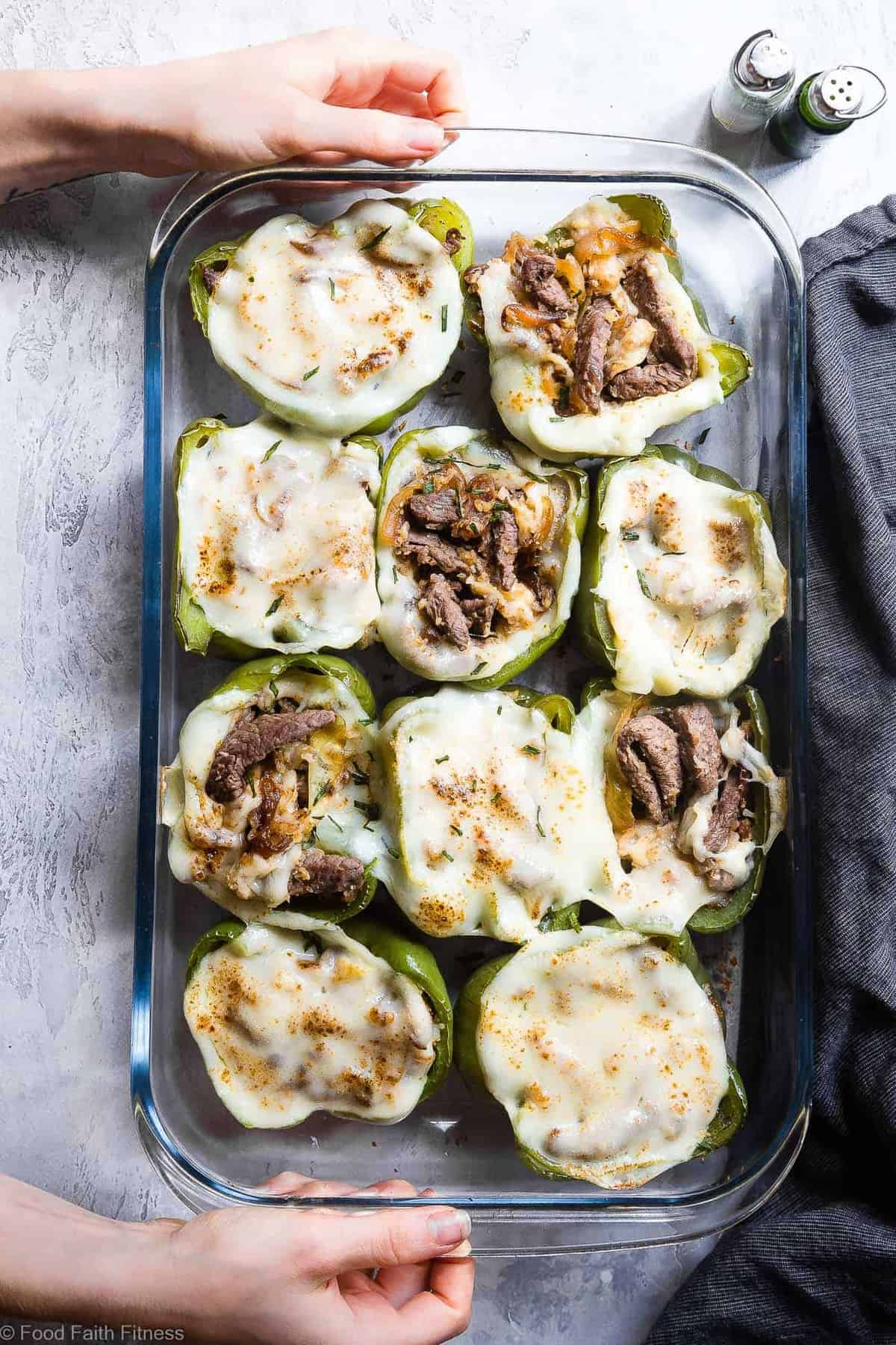 Low Carb Keto Philly Cheesesteak Stuffed Peppers - These low carb stuffed bell peppershave all the flavors of your favorite sandwich in a healthy, low carb, easy weeknight meal that will please even picky eaters! Healthy comfort food at its best! | #Foodfaithfitness | #Glutenfree #Keto #Lowcarb #Healthy #Grainfree