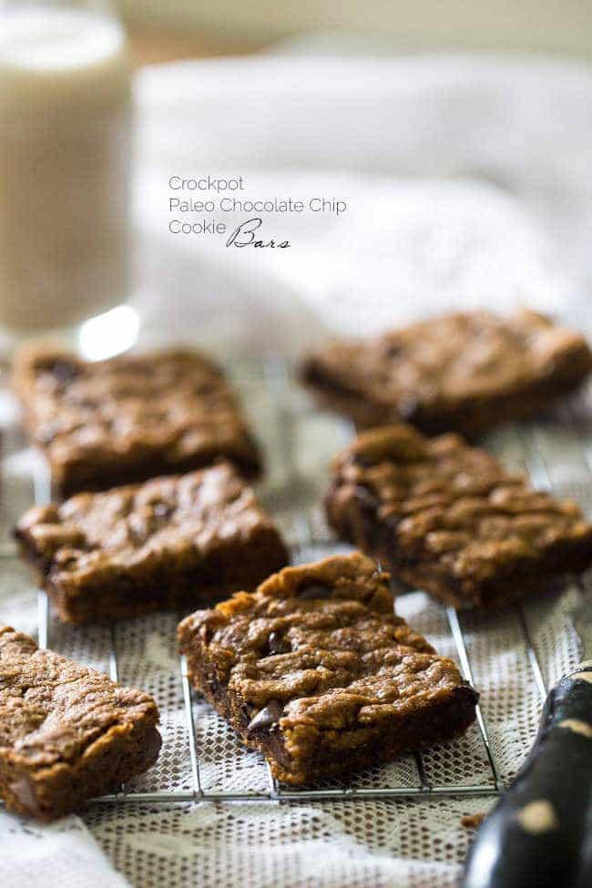 Crock Pot Paleo Cookies with Chocolate Chips - Let the crock pot do the work for you with these cookies that are loaded with gooey chocolate! An easy, healthy, grain-free treat! | Foodfaithfitness.com | @FoodFaithFit