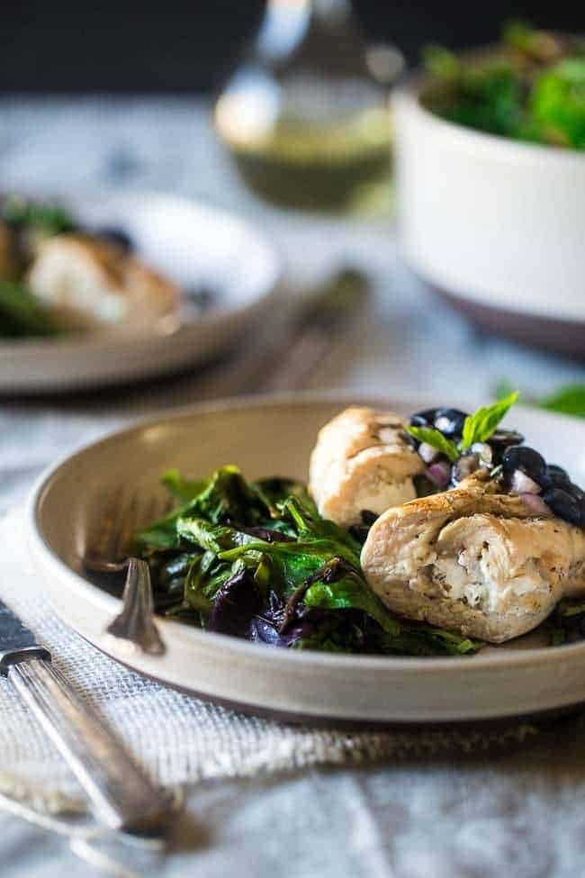 Grilled Goat Cheese Stuffed Chicken Breasts With Balsamic Blueberry Salsa A 30 Minute Easy