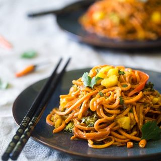 Vegan Coconut Curry with Sweet Potato Noodles {GF + Dairy Free}