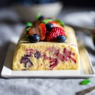 Lemon Honey Semifreddo Recipe with Strawberries and Blueberries {Paleo}