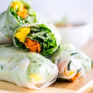 Vegan Cucumber Noodles Mango Summer Rolls with Almond Coconut Dip {Gluten Free}