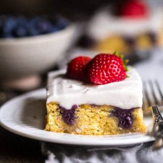 Paleo Poke cake with Blueberries, Strawberries and Coconut Cream + Healthy Berry Desserts