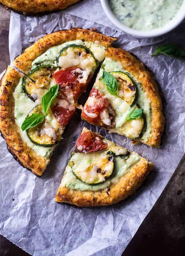 Cauliflower Pizza with Greek Yogurt Pesto & Grilled Veggies {Low Carb + High Protein + Vegetarian}