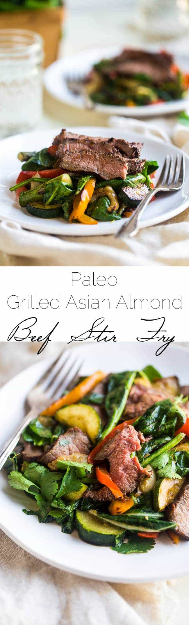 Paleo Grilled Beef Stir Fry with Asian Almond Dressing- Beef and veggies are grilled and then tossed with a creamy Asian almond butter vinaigrette and spinach for a quick and easy, healthy, Paleo-friendly meal! | Foodfaithfitness.com | @FoodFaithFit