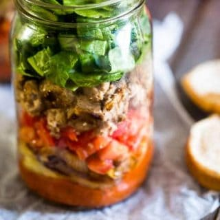 Turkey Burger Mason Jar Salads - A fun, easy way to make your burger portable! All the taste of a burger in a healthy, gluten free and low carb meal! | Foodfaithfitness.com | @FoodFa