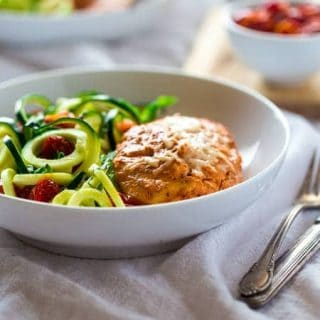 Sun-Dried Tomato Greek Yogurt Chicken with Zucchini Noodles {Low Carb/Fat, Gluten Free + High Protein}