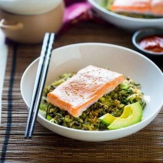 Spicy Salmon Cauliflower Rice and Cucumber Noodle Paleo Sushi Bowl {Super Simple + Low Carb}