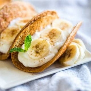Banana Pancakes: Taco Style {Gluten Free, High Protein + Super simple}