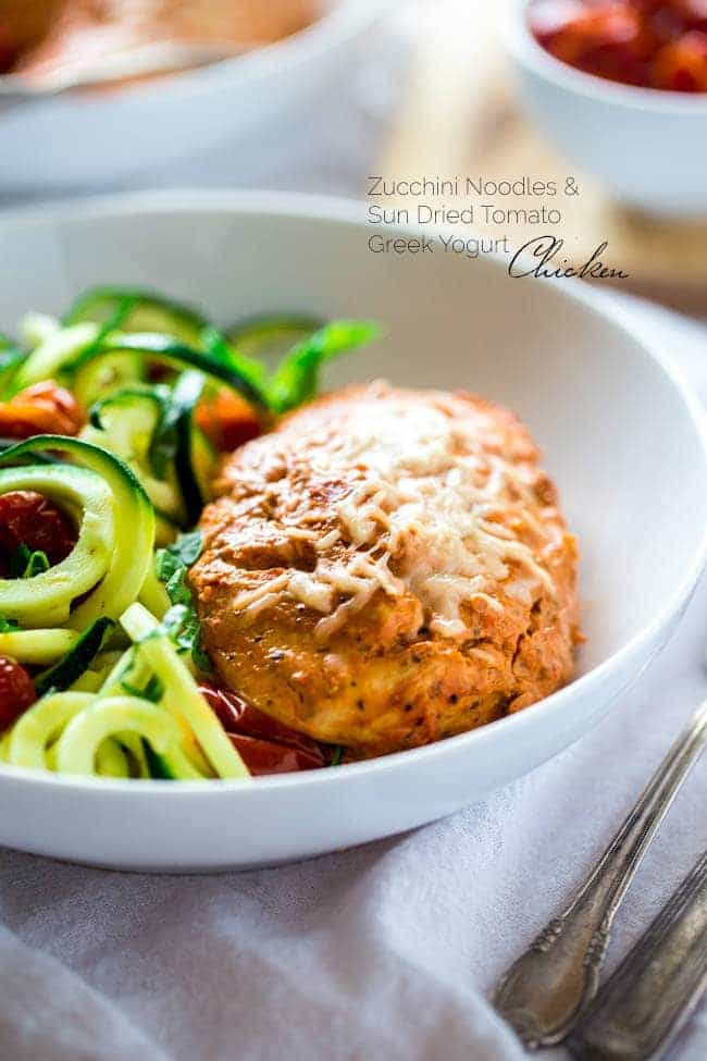 Sun-Dried Tomato Chicken with Zucchini Noodles - Zucchini noodles are tossed with roasted tomatoes, lemon, basil and Parmesan, then topped with sun-dried tomato & Greek yogurt marinated chicken for an easy, healthy weeknight meal that's under 350 calories! | Foodfaithfitness.com | @FoodFaithFit