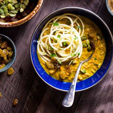 Coconut Curry With Almond Butter, Sweet Potato and Apple Noodles {Paleo + Vegan}