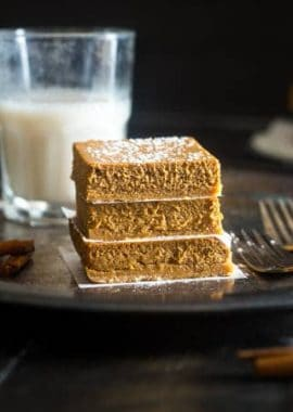Gluten Free Healthy Pumpkin Cheesecake Bars - These pumpkin cheesecake bars are so creamy, that you'd never know they're secretly healthy, naturally sweetened, gluten free, and only 150 calories! | Foodfaithfitness.com | @FoodFaithFit