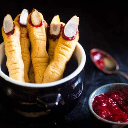 Vegan & Paleo Witch Finger Cookies - The classic, spooky Halloween cookie get a healthy, gluten free, paleo AND vegan makeover! They're easy to make and always a hit at parties! | Foodfaithfitness.com | @FoodFaithFit