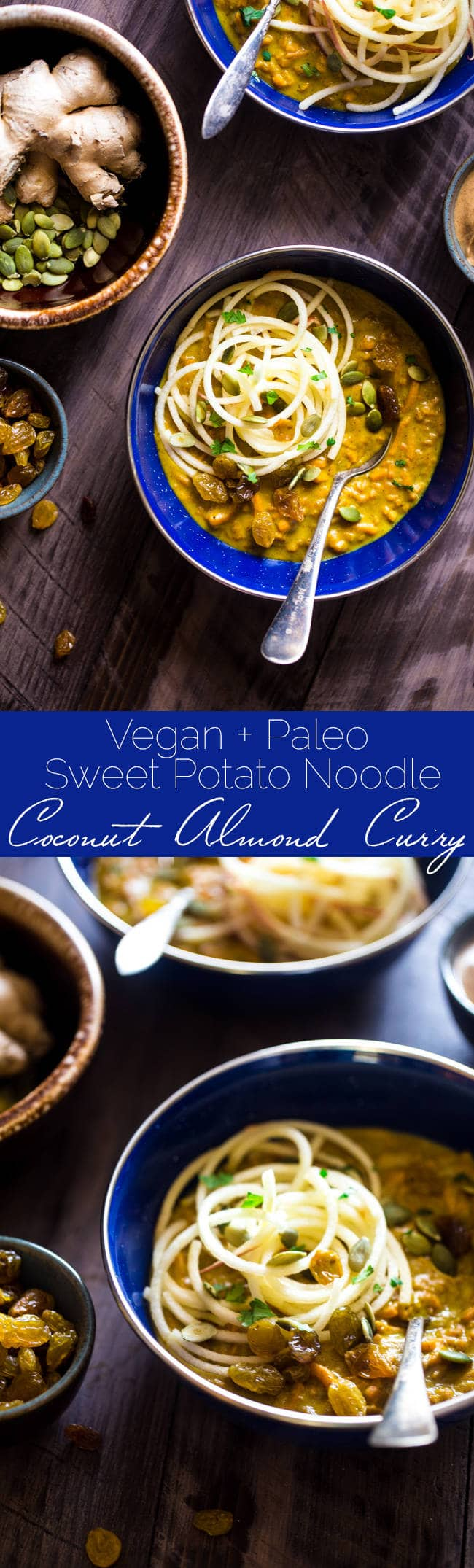 Paleo & Vegan Almond Butter Coconut Curry with Spiralized Sweet Potato and Apple Noodles - Creamy, spicy and ready in 30 minutes! A healthy bowl of fall comfort for your next meatless Monday! | Foodfaithfitness.com | @FoodFaithFit
