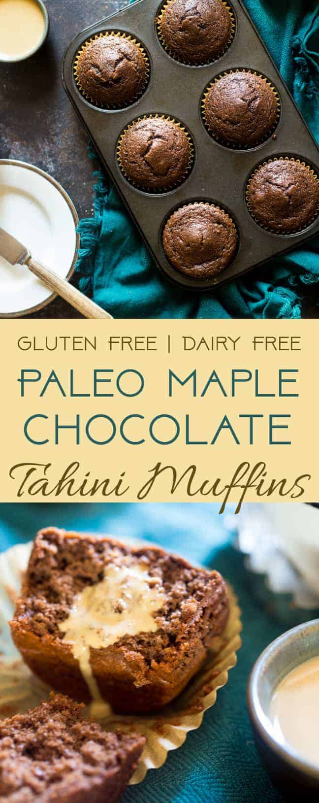 Paleo Maple Tahini Chocolate Muffins - These gluten free chocolate muffins are sweetened with maple syrup and have a hint of tahini. They're a healthy, easy breakfast for busy mornings that are only 170 calories! | #Foodfaithfitness | #Paleo #healthy #glutenfree #muffins #coconutflour