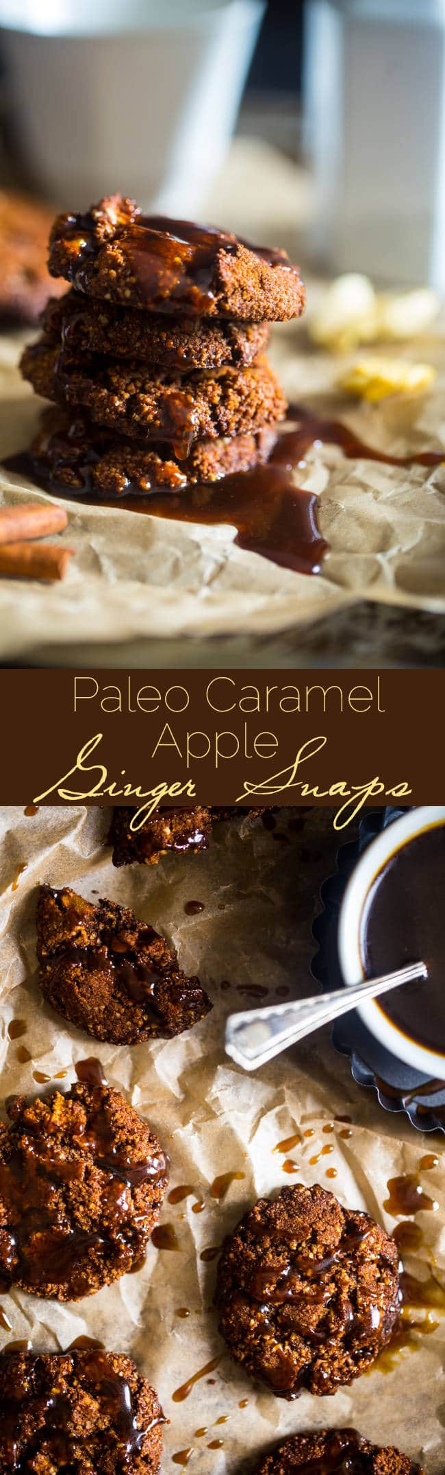 Paleo Caramel Apple Ginger Snaps - This healthy ginger snap recipe is mixed with dried apples and drizzled with caramel sauce for a paleo-friendly twist on the classic fall or Christmas cookie! | Foodfaithfitness.com | @FoodFaithFit
