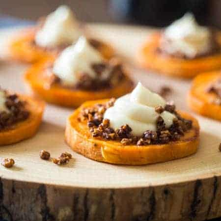 4 Ingredient Sweet Potato Pie Bites - These gluten free maple roasted sweet potato pie bites are a quick and easy snack or appetizer that tastes just like sweet potato pie, but are a whole easier to make! Perfect for Thanksgiving! | FoodFaithFitness.com | @FoodFaithFit
