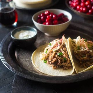 Chipotle Slow Cooker Pork Tenderloin Tacos with Cranberries and Apples {Gluten Free}
