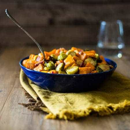 Maple Baked Roasted Brussels Sprouts with Bacon and Sweet Potato