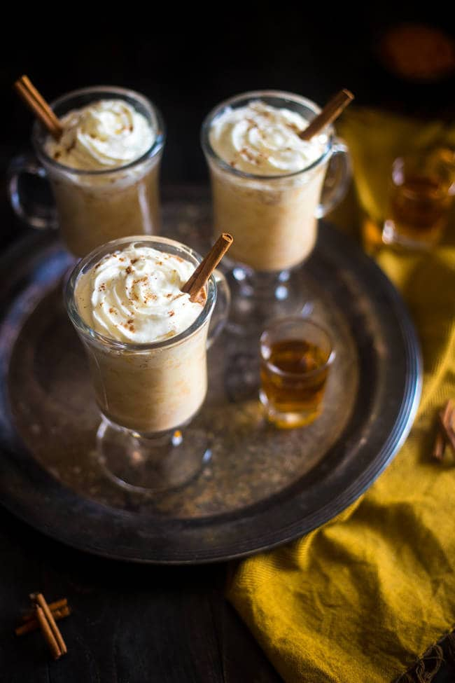 Maple Pumpkin Steamed Almond Milk with Bourbon - Mixed with pumpkin puree, naturally sweetened with maple syrup and finished with bourbon. It's an easy, cozy drink for the fall! | Foodfaithfitness.com | @FoodFaithFit