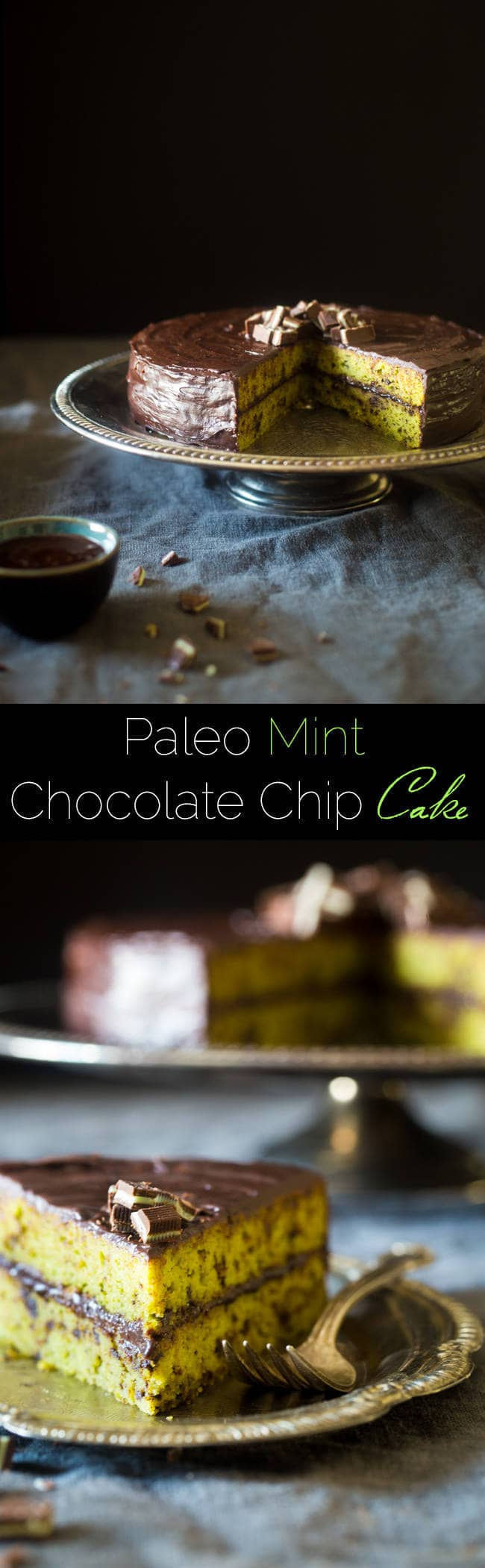 Paleo Mint Chocolate Chip Cake - This gluten free chocolate cake uses a secret ingredient so it's oil, butter and dye-free! You'd never know it's a healthy, holiday treat that is perfect for Christmas! | Foodfaithfitness.com | @FoodFaithFit