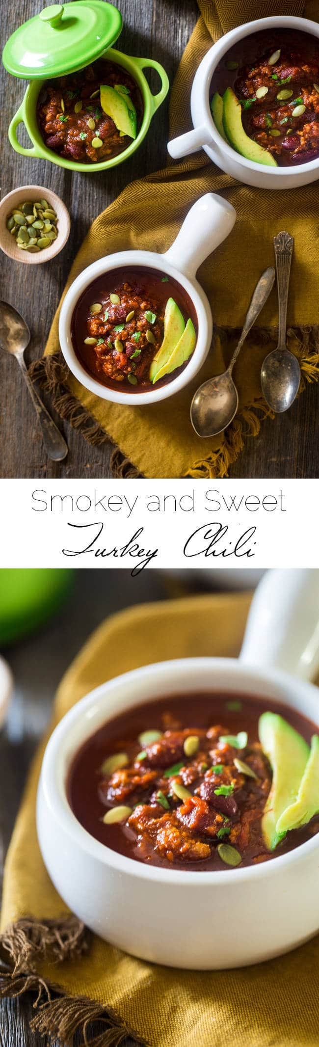 This smokey-sweet turkey chili is an easy, healthy and gluten free weeknight meal that's perfect for cold, winter nights. It's healthy comfort food at it's best! | Foodfaithfitness.com | @FoodFaithFit