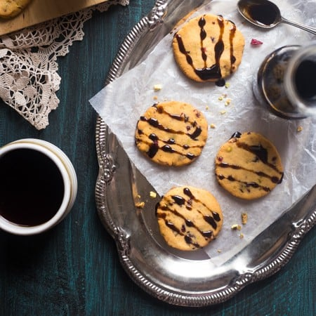 Cranberry Pistachio Gluten Free Shortbread Cookies with Balsamic Reduction {Vegan + Paleo}