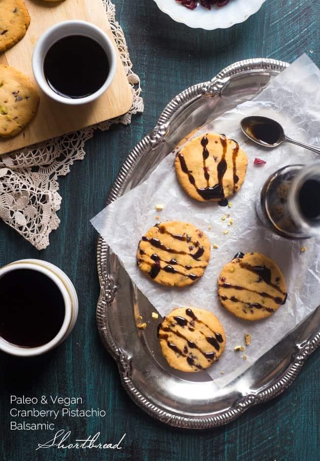 Vegan + Paleo Cranberry Pistachio Shortbread Cookies with Balsamic Reduction - Gluten free shortbread cookies with crunchy pistachios, chewy cranberries and tangy balsamic reduction! They're a healthy cookie for Christmas! | Foodfaithfitness.com | @FoodFaithFit