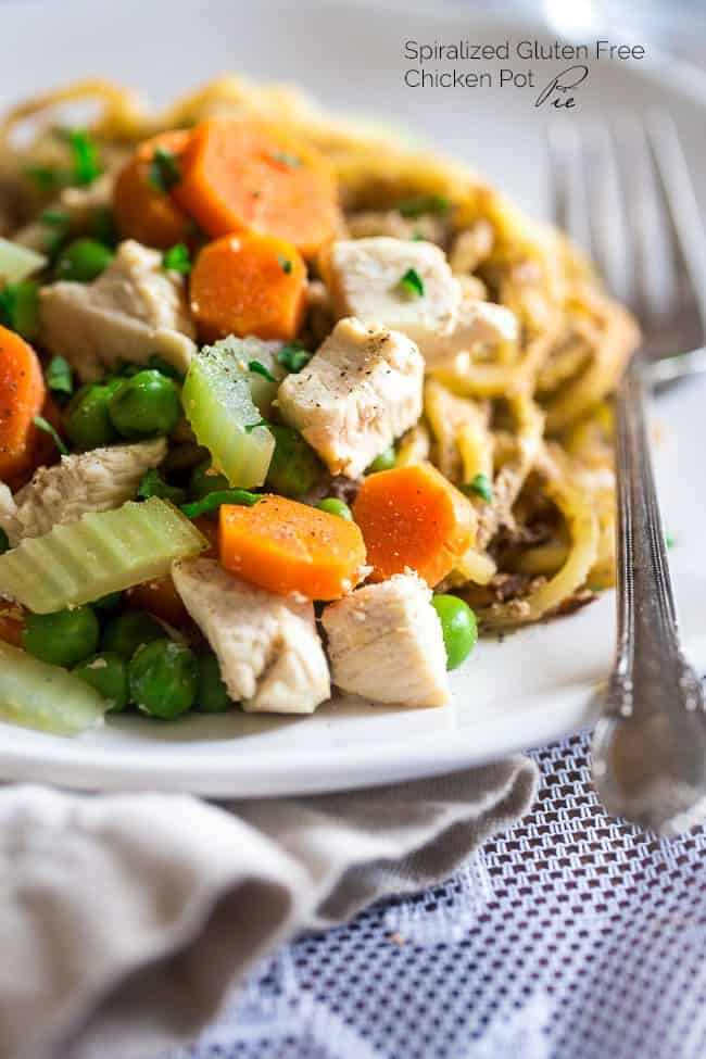 Healthy Spiralized Chicken Pot Pie with Potato Noodles - Spiralized potato noodles, creamy Greek yogurt sauce, chicken, carrots and peas make up this gluten free, chicken pot pie, that is sure to please the pickiest of eaters! Ready in 30 minutes too! | Foodfaithfitness.com | @FoodFaithFit