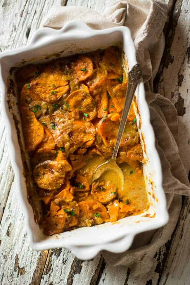 Paleo and Vegan Scalloped Sweet Potatoes  Foodfaithfitness.com   @FoodFaithFit