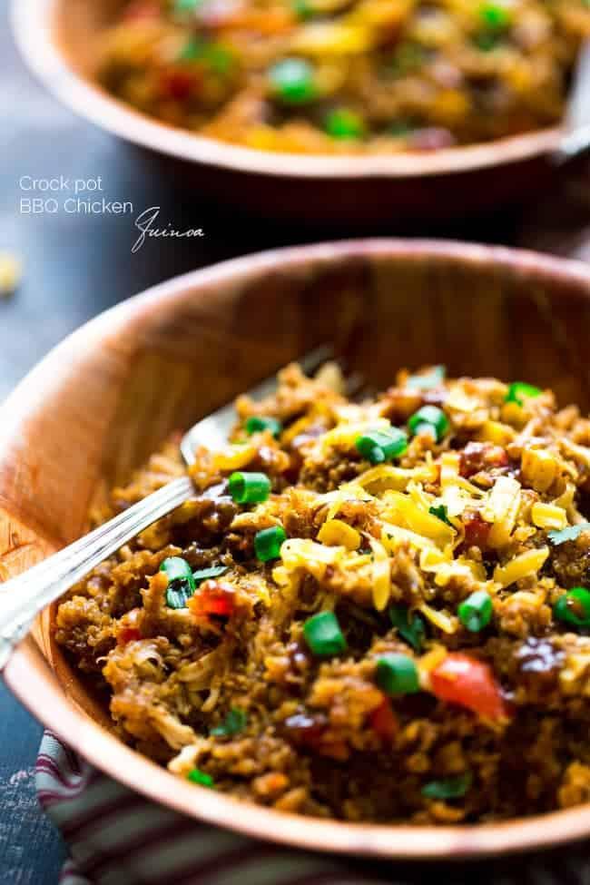 Top 10 Healthy Recipes - Slow Cooker BBQ Chicken Quinoa | Foodfaithfitness.com | @FoodFaithFit