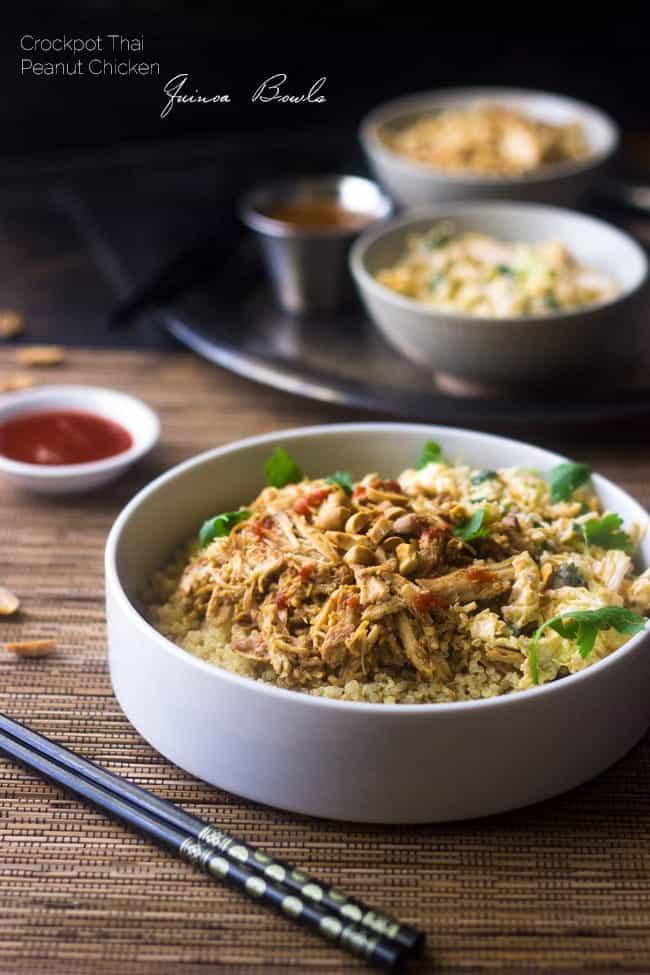 Top 10 Healthy Recipes - Slow Cooker Thai Peanut Chicken Quinoa Bowls | Foodfaithfitness.com | @FoodFaithFit