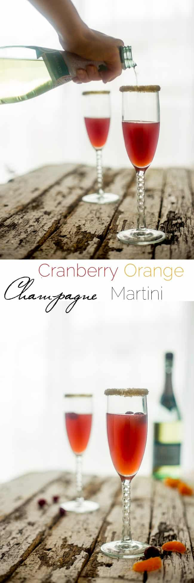 Champagne Orange Cranberry Cocktail - This cranberry cocktail has a touch of fresh orange juice and a splash of champagne to make it bubbly! It's so easy to make and perfect for holiday entertaining! | Foodfaithfitness.com | @FoodFaithFit