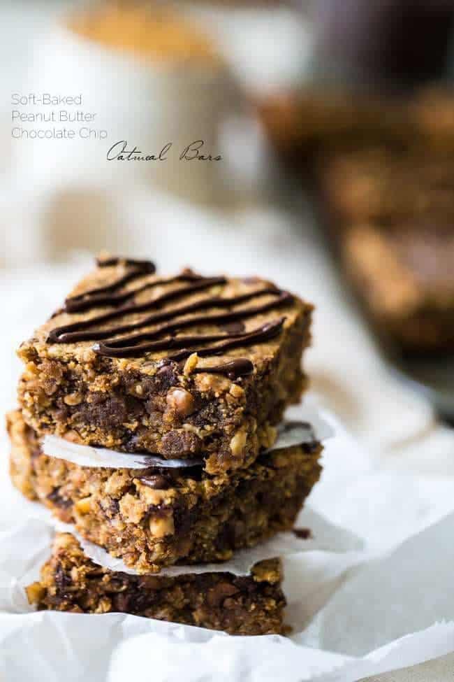 Top 10 Healthy Recipes - Chocolate Peanut Butter Oatmeal Breakfast Bars | Foodfaithfitness.com | @FoodFaithFit