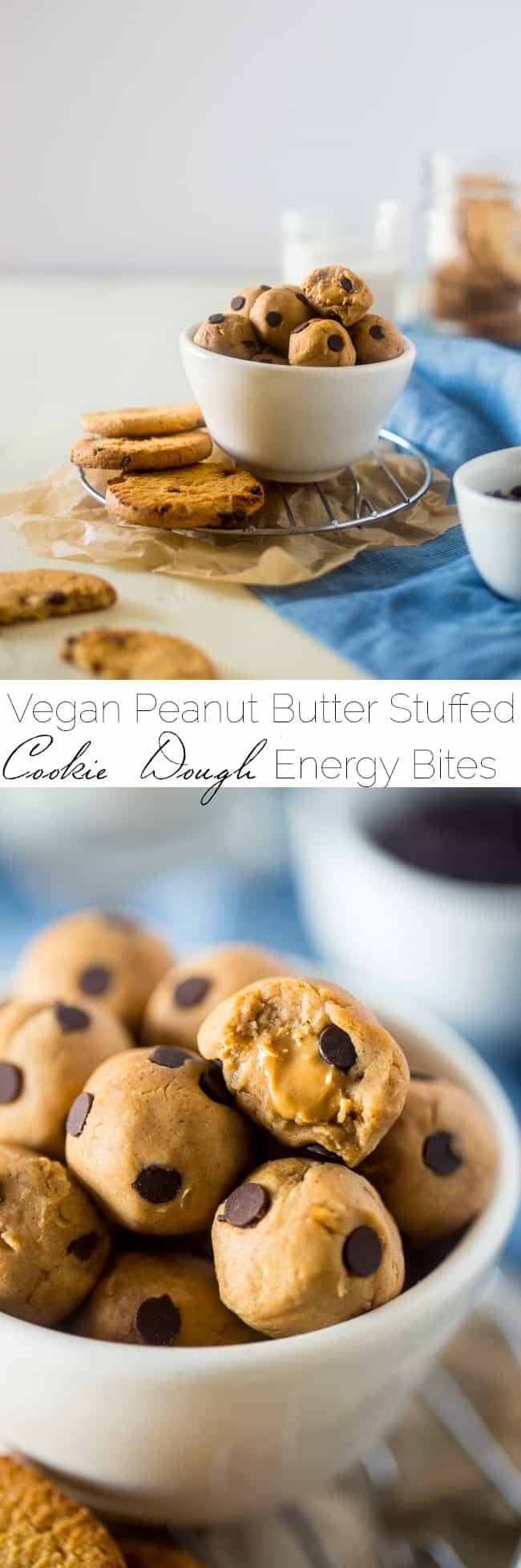 Peanut Butter Stuffed Vegan Cookie Dough Bites - SO easy to make and loaded with peanut butter and chocolate chips! You would never know they're secretly healthy, gluten free and only 65 calories! | Foodfaithfitness.com | @FoodFaithFit