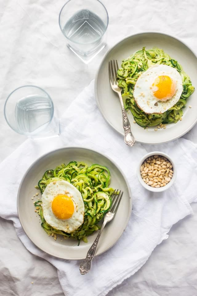 Zucchini Noodles with Pesto Fried Eggs